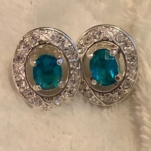 Beautiful Silver Earrings with Aqua Blue Stones